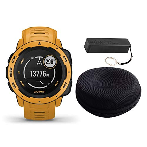 Garmin Instinct Rugged Outdoor Watch Bundle Sunburst - Includes Power Bank | Watch Case