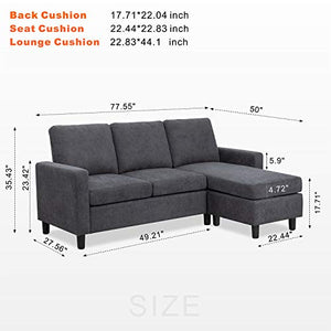JY QAQA Convertible Sectional Sofa Couch with Reversible Chaise, L-Shaped Couch with Modern Linen Fabric for Small Space (Dark Grey)