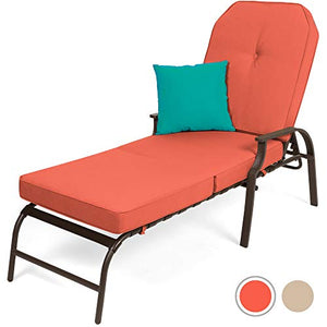 Best Choice Products Adjustable Outdoor Chaise Lounge Chair Furniture for Patio, Poolside w/UV-Resistant Cushion - Red