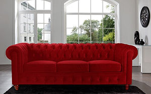 Divano Roma Furniture Velvet Scroll Arm Tufted Button Chesterfield Style Sofa, Red