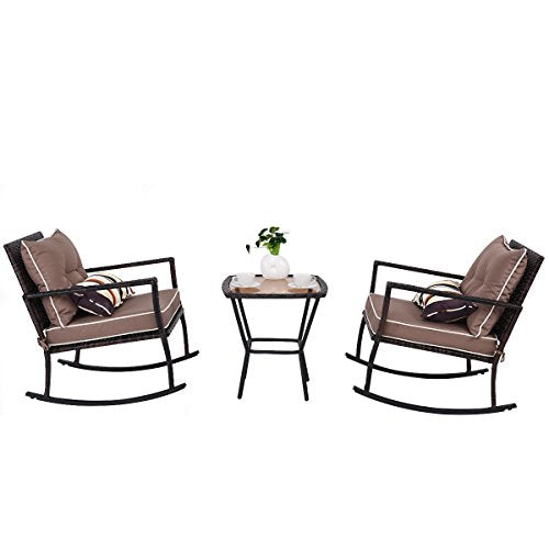 Tangkula AM1483HM Rocking Set 3 Piece Outdoor Patio Garden Poolside Wicker RATT, Brown