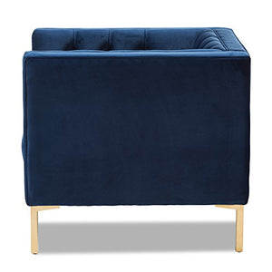 Baxton Studio Luxe and Glamour Upholstered Lounge Chair in Blue