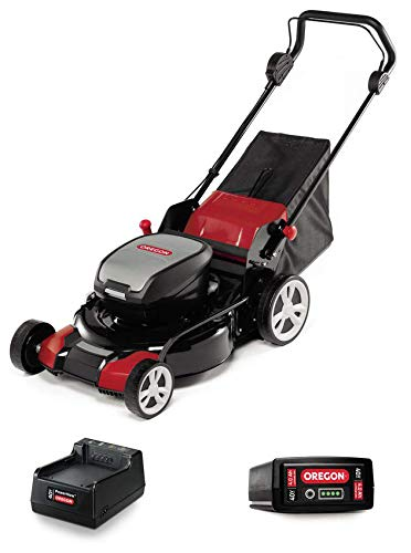 Oregon 591079 Lawn Mower, Cordless, Charger, Battery Powered, Red/Black