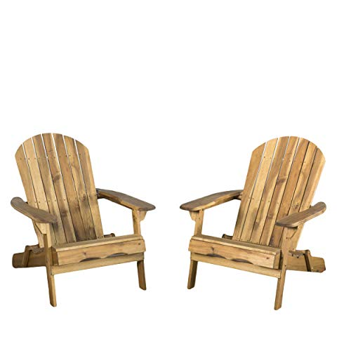 Christopher Knight Home Hanlee Folding Wood Adirondack Chairs, 2-Pcs Set, Natural Stained