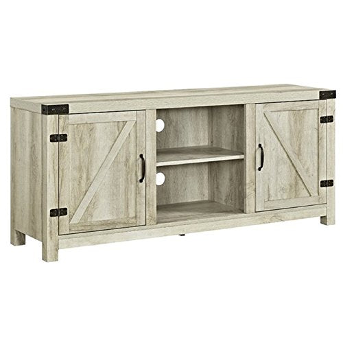 "Pemberly Row Farmhouse Rustic Wood Barn Door 70"" TV Stand Console with Storage in Rustic Gray Wash"