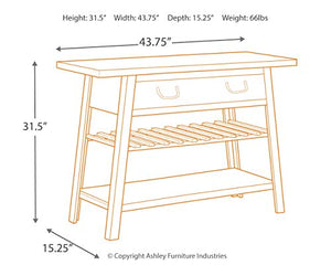Signature Design by Ashley - Camp Ridge Console Sofa Table - Rustic Modern Farmhouse - Light Brown