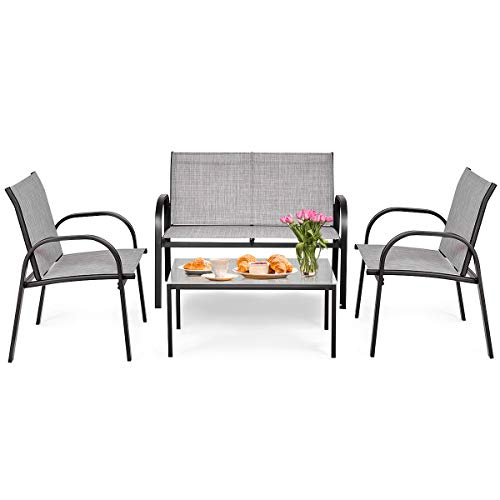 Tangkula 4 Piece Patio Furniture Outdoor Sofa Garden Lawn Sectional Conversation Set Outdoor Garden Poolside Glass Top Tea Coffee Table and Chairs with Smooth Armrest (Gray)