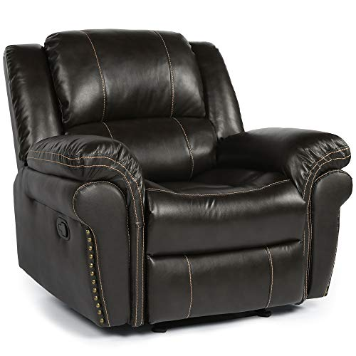 Rocker Recliner Chair,Overstuffed Faux Leather Recliner,Heavy Duty Glider Recliner for Living Room,Brown Home Theater Seating