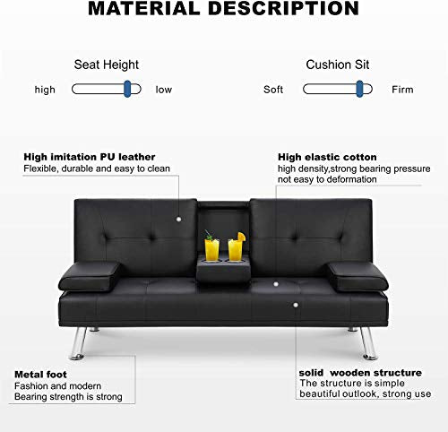 Convertible Sofa Couch Faux Leather,JULYFOX Recliner Lounge Futon Couch for Living Room with 2 Cup Holders & Removable Armrest,Black