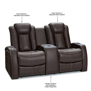 Seatcraft Omega Home Theater Seating - Leather Gel - Power Recline - Power Headrests - USB Charging - Lighted Cup Holders - Center Storage Console (Loveseat, Brown)