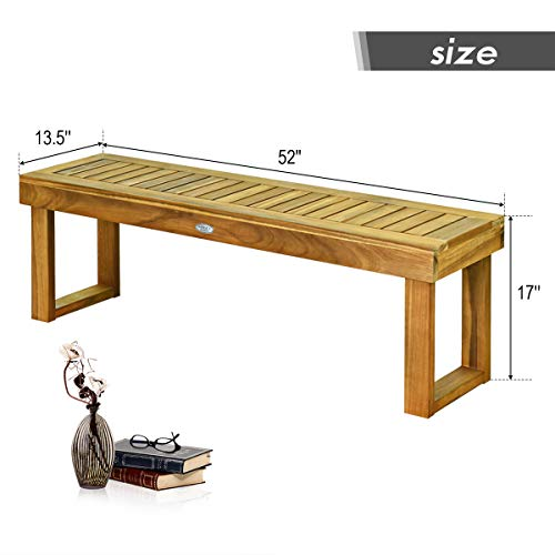 Tangkula 52 Inches Acacia Wood Patio Bench, Wood Dining Bench with Slatted Seat, Patio Backless Bench for Garden Backyard Poolside Balcony, Ideal for Outdoors & Indoors (1, Teak)