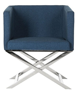 Safavieh Home Collection Celine Navy and Chrome Modern Glam Cross Leg Chair