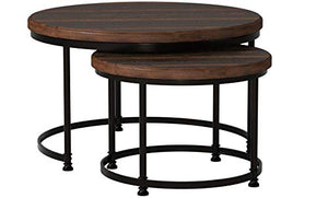 "Amazon Brand – Stone & Beam Wood and Metal Round Nesting Side End Tables, 34"" W, Set of 2, Pine"