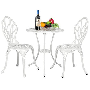 YAHEETECH Outdoor Setting Cast Bistro Table Chair Vintage Patio 3 Piece Bistro Set Tulip Design,Aluminum Made,White