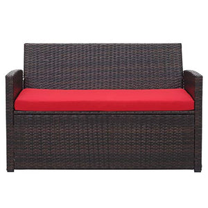 4 Pieces Outdoor Patio Furniture Set Brown Wicker Rattan Cousioned Sectional Conversation Sofa with Coffee Tea Table for Backyard Porch Garden Poolside Balcony Red