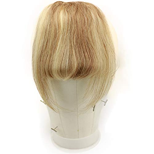 Rossy&Nancy Brazilian Virgin Hair Thick Clip on Bangs Fringe Human Hair Extensions Hairpieces Accessories with Hair Temples for Women 6-8inch