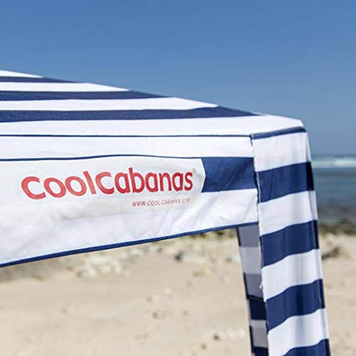 Cool Cabanas UPF50,Providing 50+UV Protection,8 Pockets easy go coolcabana beach canopy sun shelter tent camping umbrella with sand anchor easy setup pop up tents beach sun shade-B Stripes-Medium Size