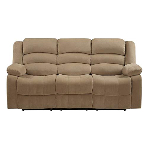 Blackjack Furniture 9824 Winthrop Collection Microfiber Modern Reclining Living Room Sofa, Livingroom, Beige