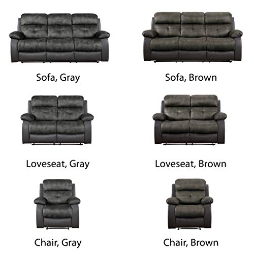 "Homelegance Manual Double Reclining Sofa, 82""W, Brown Two-Tone"