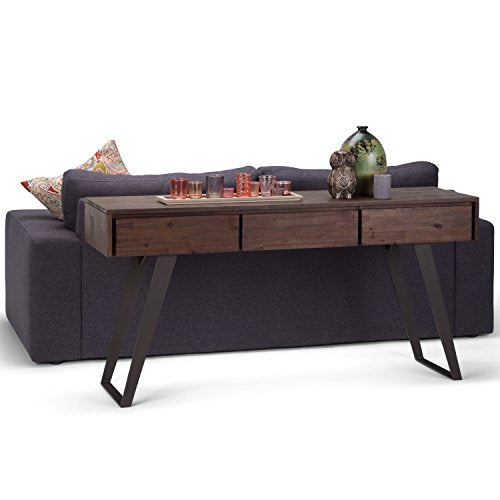 Simpli Home Lowry SOLID WOOD and Metal 60 inch Wide Modern Industrial Console Sofa Entryway Table in Distressed Charcoal Brown with Storage, 3 Drawers , for the Living Room, Entryway and Bedroom