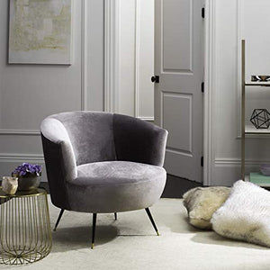 Safavieh Home Collection Arlette Retro Glam Grey Velvet Accent Chair