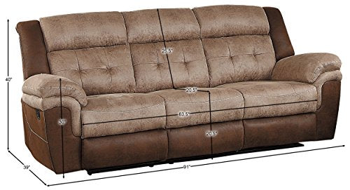 "Homelegance Chai 91"" Microfiber Double Reclining Sofa (Manual), Brown"
