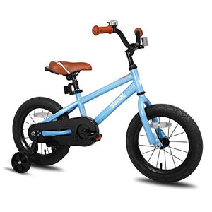 JOYSTAR 16 Inch Ride-On Kids Bike with Coaster Braking, Training Wheels & Kickstand, Blue