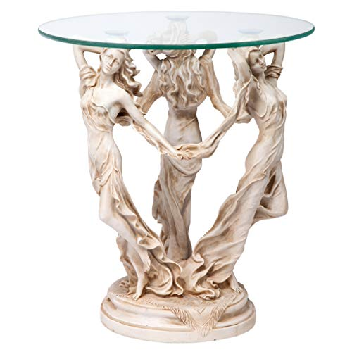Design Toscano The Greek Muses Glass Topped Side Table, 20 Inch, Antique Stone