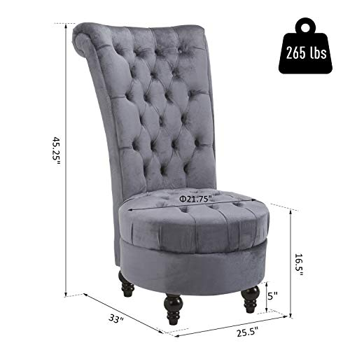HOMCOM Retro High Back Armless Chair Living Room Furniture Upholstered Tufted Royal Accent Seat (Soft Grey)