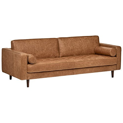 Amazon Brand �Rivet Aiden Tufted Mid-Century Modern Leather Bench Seat Sofa, 86.6