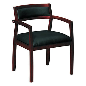 basyx Wood Guest Chairs with Black Leather Seat/Upholstered Back, Mahogany