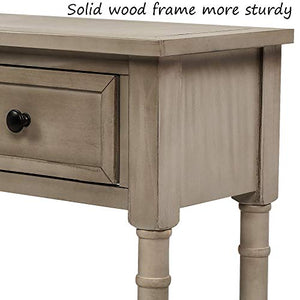Retro Console Table Sofa Table for Entryway with Drawers and Shelf Living Room Table (Grey Wash)