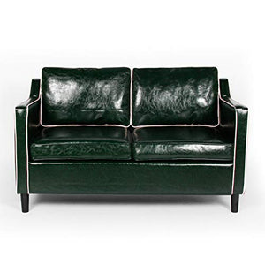 "Modern 50"" Small Sofa Couch Faux Leather Comfy Loveseat Sofa Mini Couch Living Room Bedroom, Office Couch Love Seat Small Space 2-Seat for 2 People (Green&White)"