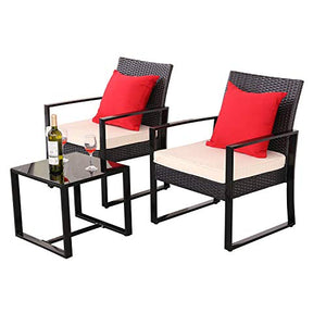 Do4U 3 Pieces Patio Furniture Sets Outdoor Wicker Chair Conversation Sets with Coffee Table for Garden Balcony Porch (Beige)