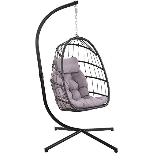 Brafab Wicker Rattan Hanging Swing Egg Chair, Aluminum Frame and UV Resistant Cushion, Indoor Outdoor Patio Porch Lounge Hand Made Chair 350LBS Capacity
