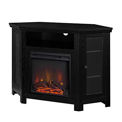 "WE Furniture 48"" Corner TV Stand Fireplace Console, Black"