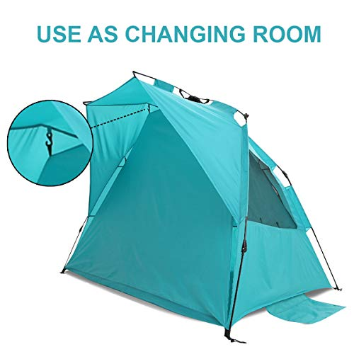 Alvantor Extra Large Beach Tent Super Bluecoast Beach Umbrella Outdoor Sun Shelter Cabana Automatic Pop Up UPF 50+ Sun Shade Portable Camping Fishing Hiking Canopy Easy Setup Windproof Patent Pending