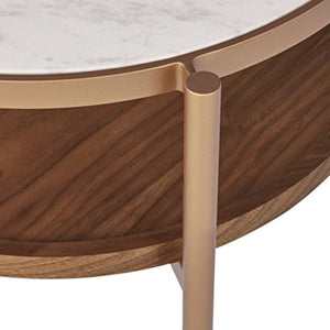 "Amazon Brand – Rivet Modern White Marble and Wood Double Storage Wood Shelf Side End Table, 21.3""H, White/Brass/Walnut"