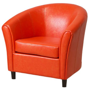 Christopher Knight Home Napoli Bonded Leather Club Chair, Orange