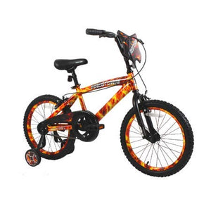 "Dycft Your Little Guy is Going to Have a Blast Riding Around, Unique and Exciting 18"" Boys Firestorm Bike,with Handlebar Shield,Adjustable,Removable Training Wheels,Front,Rear Caliper Brakes"