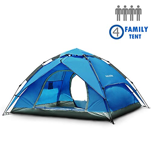 NACATIN 3-4 Person Family Camping Tent,Automatic Instant Pop Up Waterproof PU3000mm 210D Oxford Material Family-Sized Groups Camp Beach Tents (Blue)