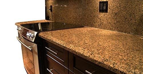 "EZ FAUX DECOR Instant Venetian Gold/Santa Cecilia Marble Granite Countertop Film Self Adhesive Vinyl Laminate Counter Top Peel and Stick NOT Contact Paper (36"" x 180"")"