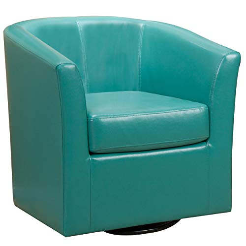 Christopher Knight Home Daymian PU Swivel Club Chair, Turquoise