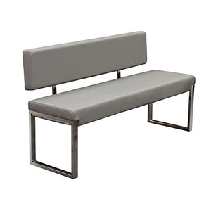 Diamond Sofa Knox Bench with Back and Stainless Steel Frame - Black