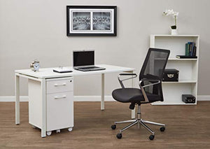 Office Star Mesh Back and Bonded Leather Seat, Padded Arms, and Aluminum Accent High Back Hospitality Chair, Black
