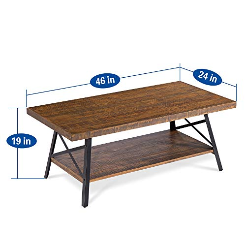"Olee Sleep 46"" Cocktail Wood & Metal Legs Coffee Table, Rustic Brown"