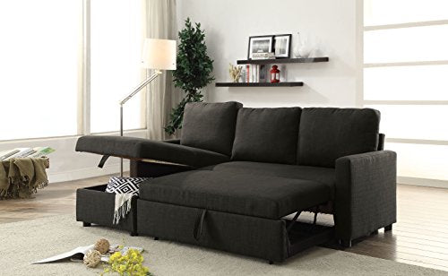 ACME Hiltons Charcoal Linen Sectional Sofa with Sleeper and Storage