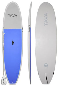 Tava 11'2 Blue Stand Up Paddle Boards Alloy Adjustable Paddle | Features A Durable Epoxy Construction and All Around Stable Shape for Flatwater + Small Surf �Full Deck Traction Lets you Carry Extra Passengers Easily