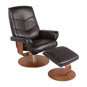 Nalani Soft Touch Synthetic Leather Swivel Recliner Chair and Ottoman Lounger (Java)