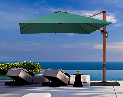 PAPAJET Patio Umbrella Outdoor Square Umbrella Offset Cantilever Umbrella 10x10ft Hanging Wood Grain Umbrella with Easy Tilt & Cross Base for Garden Backyard Deck Pool, Green